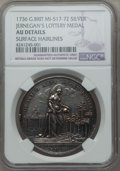 Betts Medals, 1736 Jernegan's Cistern Medal, Betts-169, -- Surface Hairlines --NGC Details. AU. Silver. Goldsmith Henry Jernegan issued t...