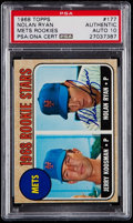 Autographs:Sports Cards, Signed 1968 Topps Nolan Ryan Mets Rookies #177 PSA/DNA Gem Mint 10....
