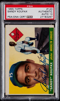 Signed 1955 Topps Sandy Koufax #123 PSA/DNA Gem MT 10