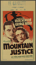 "Movie Posters:Drama, Mountain Justice (Warner Brothers, 1937). Midget Window Card (8"" X 14""). Josephine Hutchinson, George Brent and Mona Barrie ..."