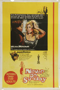 "Movie Posters:Comedy, Never on Sunday (Lopert Pictures, 1960). Australian One Sheet (27"" X 40""). Melina Mercouri earned an Oscar nomination for he..."