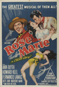 "Movie Posters:Musical, Rose Marie (MGM, 1954). Australian One Sheet (27"" X 40""). Ann Blyth, Bert Lahr, Howard Keel, and Fernando Lamas star in this..."