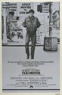 """Taxi Driver (Columbia, 1976). One Sheet (27"""" X 41"""") Style B. """"Thank God for the rain to wash the trash of..."""