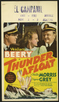 """Movie Posters:War, Thunder Afloat (MGM, 1939). Midget Window Card (8"""" X 14""""). WallaceBeery and Chester Morris put aside their differences long..."""