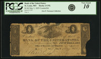 St. Louis, MO- Cashier of the Bank of the United States (the Second) $5 Office of Discount and Deposit Contemporary Coun...