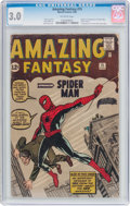 Silver Age (1956-1969):Superhero, Amazing Fantasy #15 (Marvel, 1962) CGC GD/VG 3.0 Off-whitepages....
