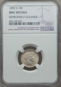Barber Dimes: , 1892-S 10C -- Improperly Cleaned -- NGC Details. UNC. NGC Census: (0/85). PCGS Population: (0/103). CDN: $310 Whsle. Bid fo...