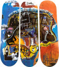 Post-War & Contemporary:Contemporary, SKATEROOM X Estate of Jean-Michel Basquiat. Triptych Skull,2014. Screenprint on skate decks. 32 x 8 inches (81.3 x 20.3...(Total: 3 Items)