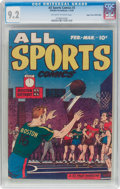 Golden Age (1938-1955):Miscellaneous, All Sports Comics #3 Mile High Pedigree (Hillman Publications,1949) CGC NM- 9.2 Off-white to white pages....