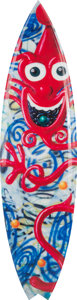 Post-War & Contemporary:Contemporary, Tim Bessell X Kenny Scharf. Cosmic Clown. Polyester resin, digitally printed fiberglass. 78 x 20 x 2-1/2 inches (198.1 x...