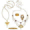 Estate Jewelry:Lots, Art Nouveau Multi-Stone, Freshwater Cultured Pearl, Enamel, Gold, Gold-Filled Jewelry . ... (Total: 5 Items)