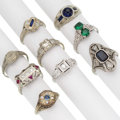 Estate Jewelry:Rings, Art Deco Diamond, Synthetic Stone, White Gold Rings . ... (Total: 9 Items)