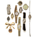 Estate Jewelry:Watches, Ladies Diamond, Synthetic Sapphire, Gold, Gold-Filled, MetalWatches. ... (Total: 11 Items)
