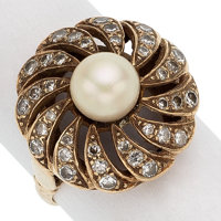 Cultured Pearl, Diamond, Gold Ring