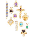 Estate Jewelry:Pendants and Lockets, Diamond, Multi-Stone, Gold, Vermeil Pendants . ... (Total: 11Items)