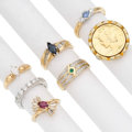Estate Jewelry:Rings, Diamond, Multi-Stone, Gold, Metal Rings . ... (Total: 7 Items)