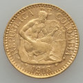 Colombia, Colombia: Republic gold 2 1/2 Pesos 1913 UNC,...