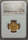 Ancients:Roman Imperial, Ancients: Leo I (AD 457-474). AV solidus (4.42 gm). NGC MS 4/5- 4/5, clipped. ...
