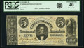 Confederate Notes:1861 Issues, Confederate States of America - T34 1861 $5 PF-1, Cr. 262. PCGS Extremely Fine 40. . ...