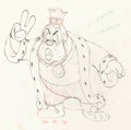 Animation Art:Production Drawing, Brave Little Tailor The King Animation Drawing (Walt Disney,1938). ...