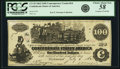 Confederate Notes:1862 Issues, Confederate States of America - CT39 $100 1862 CT39/290. PCGSChoice About New 58 Apparent.. ...