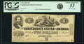 Confederate Notes:1862 Issues, Confederate States of America - T42 $2 1862 PF-2, Cr. 335. PCGSChoice About New 55 Apparent.. ...