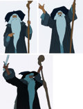 Animation Art:Production Cel, The Lord of the Rings Gandalf Production Cel Sequence of 3with Animation Drawing (Ralph Bakshi, 1978).... (Total: 4 )