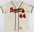 Baseball Collectibles:Uniforms, Hank Aaron Signed Milwaukee Braves Flannel Jersey. ...