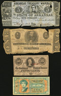 Confederate Notes:Group Lots, T55 $1 1862 PF-7 Cr. 398;. T63 50 Cents 1863 PF-3;. Little Rock,AR- State of Arkansas $5 Aug. 17, 1863 Cr. 48B;. ... (Total: 4notes)