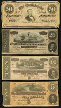 Confederate Notes:Group Lots, T66 $50 1864;. T67 $20 1864;. T68 $10 1864;. T69 $5 1864.. ...(Total: 4 notes)