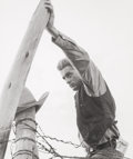Photographs, Frank Worth (American, 1923-2000). James Dean, on set of Giant (two photographs), 1955. Gelatin silver, printed late... (Total: 2 Items)