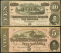Confederate Notes:1864 Issues, T68 $10 1864;. Advertising Note T69 $5 1864.. ... (Total: 2 notes)