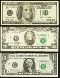 Error Notes:Error Group Lots, Shifted Third Printing Error Fr. 1907-H $1 1969D Federal ReserveNote. About Uncirculated; Misaligned Face Printing Error Fr. ...(Total: 3 notes)