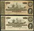 Confederate Notes:1864 Issues, T67 $20 1864 PF-10 Cr. 510 and PF-11 Cr. 511.. ... (Total: 2 notes)