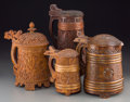 Decorative Arts, Continental:Other , Four Swedish Carved Wood Tankards, 19th century. 9-1/2 inches high(24.1 cm) (tallest). ... (Total: 4 Items)