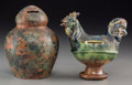 Ceramics & Porcelain, Continental:Other , Two Pottery Coin Banks. 6-1/4 inches high (15.9 cm) (taller). ...(Total: 2 Items)