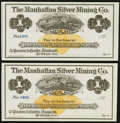 Obsoletes By State:Nevada, Austin, NV- Manhattan Silver Mining Co. $1 187__ Two Remainder Examples. ... (Total: 2 notes)