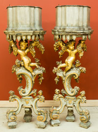 A Pair of Italian Rococo-Style Carved Grisaille and Giltwood Jardinières, late 19th-early 20th century 52-1/2 h x...