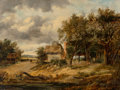 Fine Art - Painting, European:Antique  (Pre 1900), Attributed to Alfred Vickers. A Landscape in Norfolk. Oil onpanel. 12 x 16 inches (30.5 x 40.6 cm). PROPERTY FROM THE...