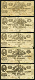 Confederate Notes:1862 Issues, T42 $2 1862 PF-5 Cr. 337 Five Examples.. ... (Total: 5 notes)