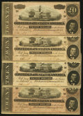 Confederate Notes:1864 Issues, T67 $20 1864 PF-3 Cr. 505 Five Examples.. ... (Total: 4 notes)