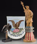 General Americana: , A Folk Art Carved and Painted Wood Statue of Liberty Model,Villeroy and Boch Painted Porcelain Patriotic Shield, and CopperE... (Total: 3 Items)