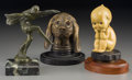 Decorative Arts, Continental:Other , Three Various Bronze and Metal Automobile Mascots: SittingKewpie, Hound, Art Deco Female, first half 20th century. ...(Total: 3 Items)