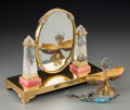 Silver & Vertu:Hollowware, A Cartier-Style Gilt Silver, Rock Crystal and Marble Mirror with Enameled Silver Scimitar Letter Opener, and Gilt Silver Egg... (Total: 2 Items)