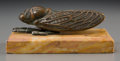 Bronze:European, A Eugene Rene Arsal Bronze and Marble Cicada Paperweight, 20thcentury. Marks: E Arsal. 2-1/4 h x 5-1/2 w x 3 d inches (...