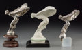 Decorative Arts, British:Other , Three Rolls Royce Spirit of Ecstasy Automobile Mascots. 9-3/4inches high (24.8 cm) (tallest, including base). Property fr...(Total: 3 Items)