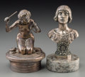 Decorative Arts, Continental:Other , A Maxime Real del Sarte Silvered Bronze Jeanne D'ArcAutomobile Mascot with Art Nouveau-Style Mascot, circa 1920...(Total: 2 Items)
