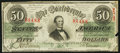 "Confederate Notes:1863 Issues, Palindrome/""Radar"" 88488 Serial Number T57 $50 1863 PF-3 Cr. 408....."