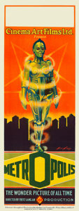 "Movie Posters:Science Fiction, Metropolis (UFA-Cinema Art Ltd., 1928). Australian Pre-War Daybill (15"" X 40"") Robotrix Style, Bernie Bragg Artwork.. ..."