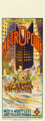 "Metropolis (UFA- Cinema Art Ltd, 1928). Australian Pre-War Daybill (15"" X 40"") Flood Style, Bernie Bragg Artwo..."